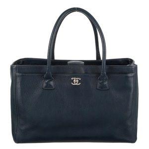 Black Cerf leath. Chanel Tote silver-tone hardware